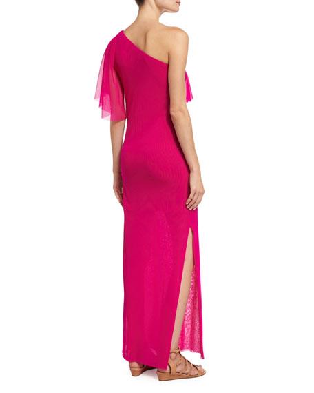 Ruffled One-Shoulder Column Gown, Fuchsia