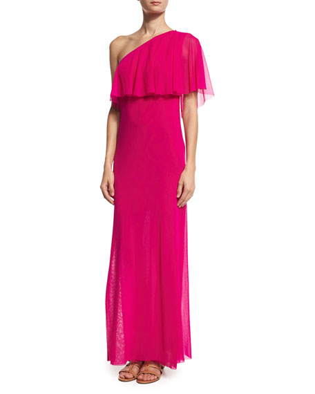 Fuzzi Ruffled One-Shoulder Column Gown, Fuchsia