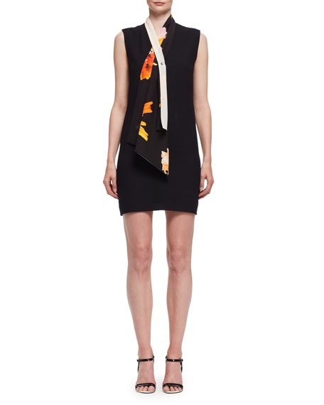 Lanvin Tie-Neck Sleeveless Shift Dress, Black