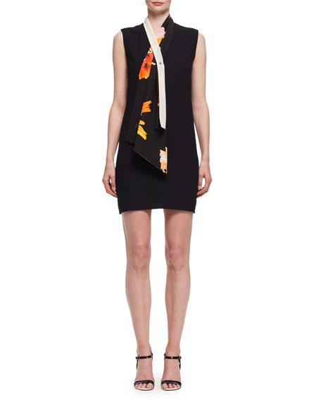 Tie-Neck Sleeveless Shift Dress, Black