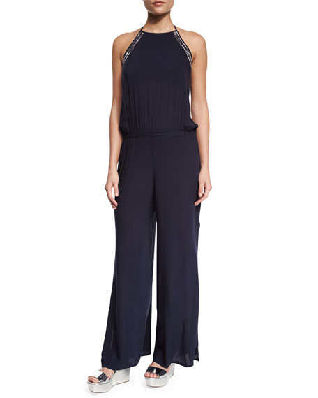 Ondademar Hand-Embroidered Split Wide-Leg Jumpsuit