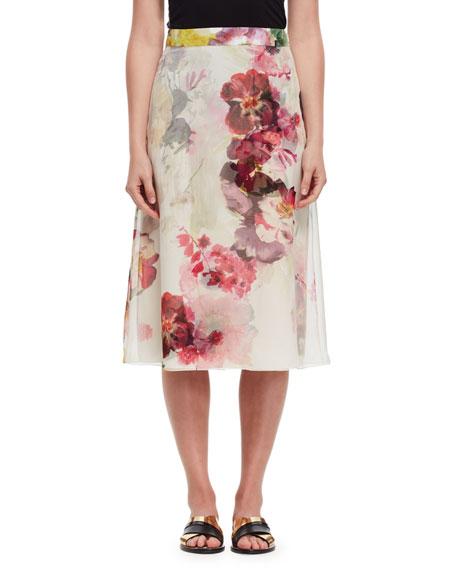 lanvin floral silk a line midi skirt