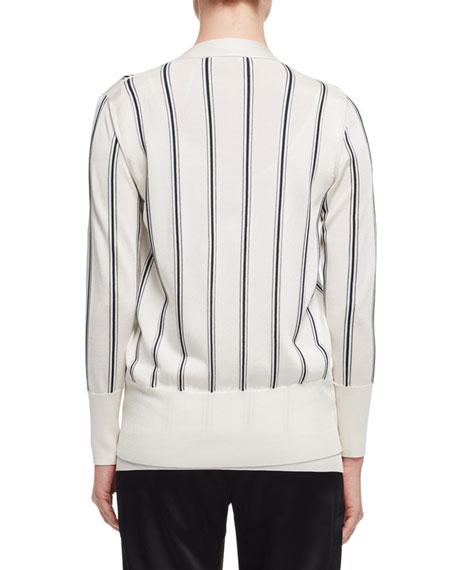 Lanvin Vertical-Stripe V-Neck Cardigan, White/Black