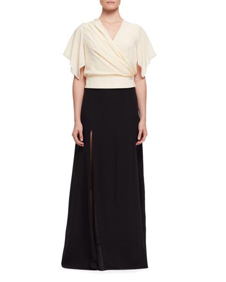 Side-Slit A-Line Maxi Skirt, Black