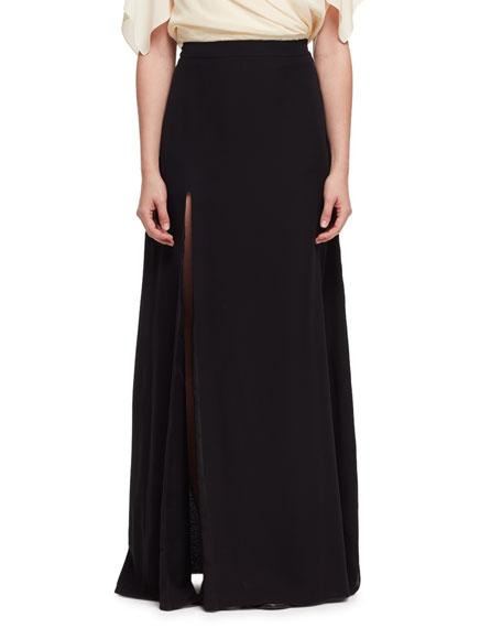 Lanvin Side-Slit A-Line Maxi Skirt, Black