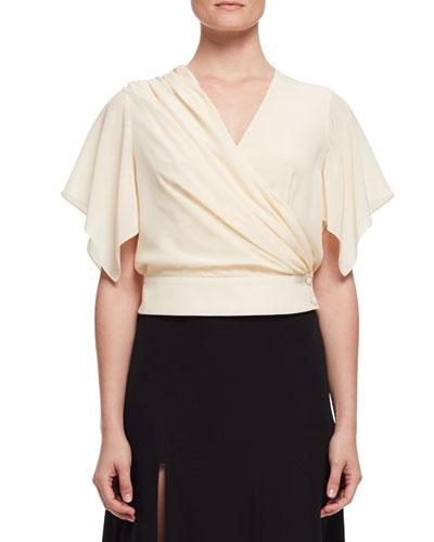 Flutter-Sleeve Wrap Blouse, Ivory