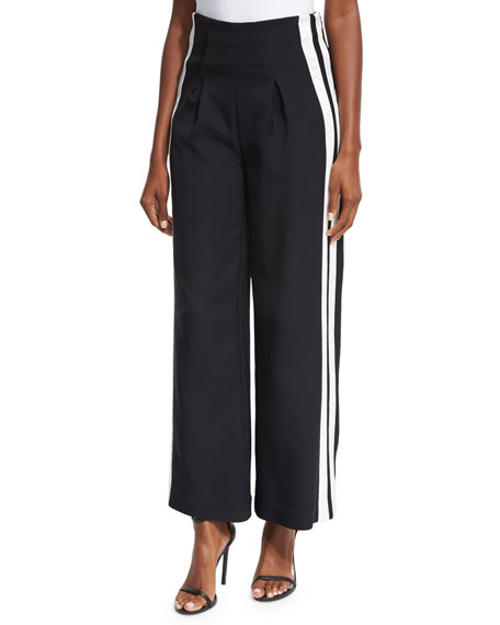 Kendall + Kylie High-Waist Track-Stripe Wide-Leg Trousers