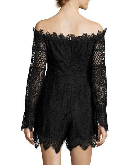 Off-the-Shoulder Lace Romper, Black