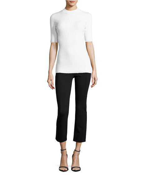 Stacey Ponte Cropped Pants, Black
