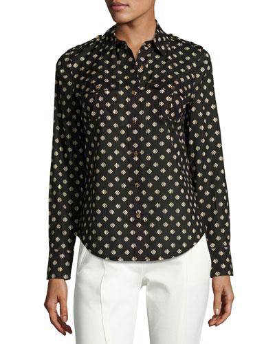 Brigitte Fish-Print Poplin Shirt, Black