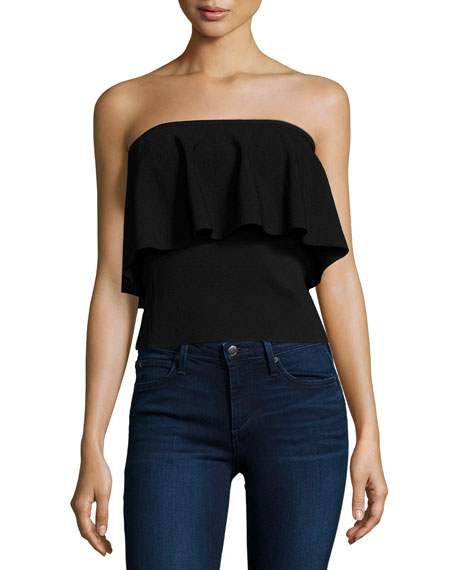 Strapless Flounce Top, Black