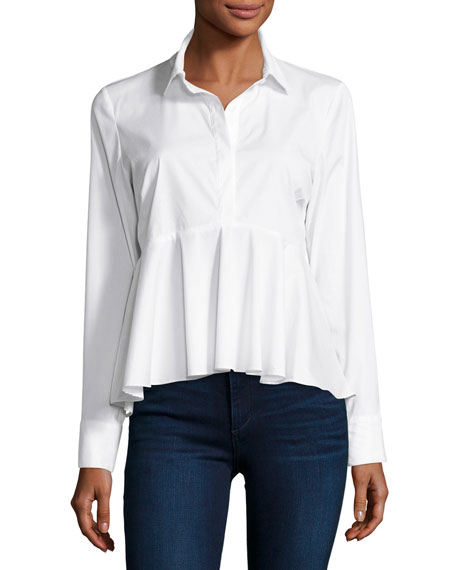 Milly Peplum Solid Poplin Shirt, White