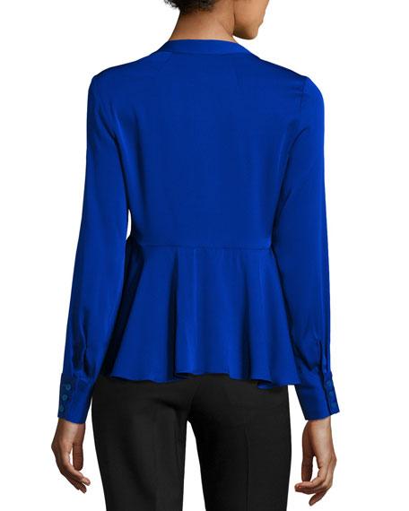 Brooke Long-Sleeve Stretch-Silk Peplum Top, Cobalt
