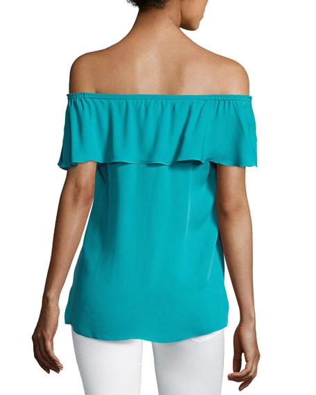 Venetta Short-Sleeve Ruffled Silk Blouse, Aqua