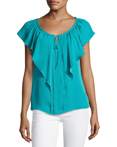 Kobi Halperin Venetta Short-Sleeve Ruffled Silk Blouse, Aqua