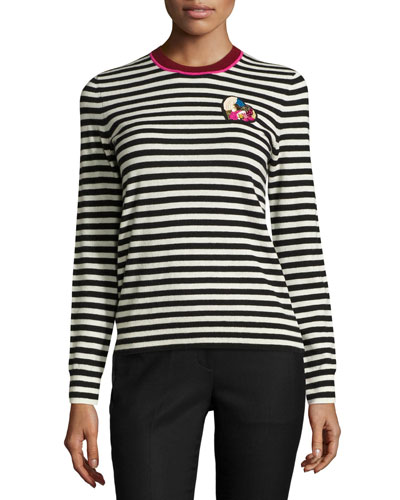 Stripe-Print Heart-Patch Cashmere Sweater, Black/White Best Reviews