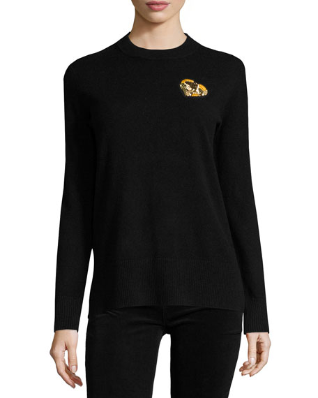 Cashmere Pullover w/ Gold Heart Patch, Black Reviews