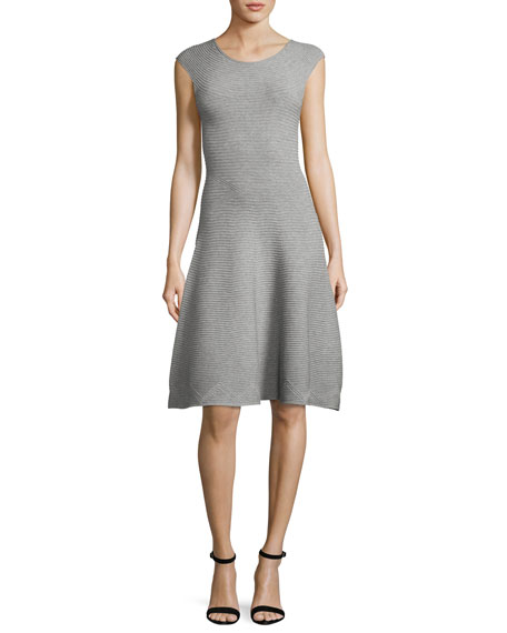 Milly Cap-Sleeve Geometric-Textured Fit-&-Flare Dress, Gray