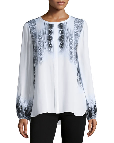 Kobi Halperin Sheri Long-Sleeve Lace-Print Silk Blouse, Multi