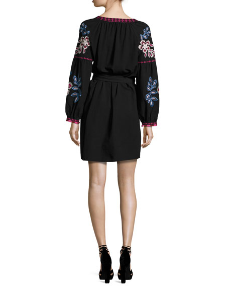 Theresa Embroidered Tunic Dress, Black