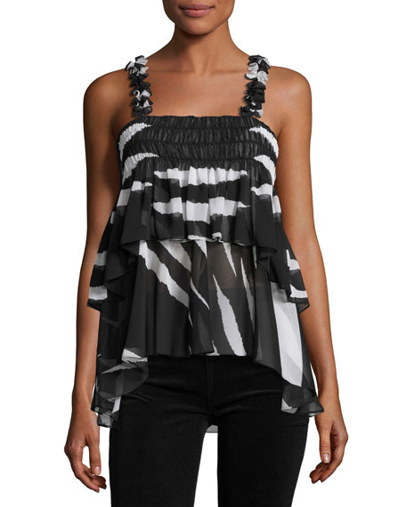 Tory Burch Lucca Sleeveless Animal-Striped Ruffled Top,