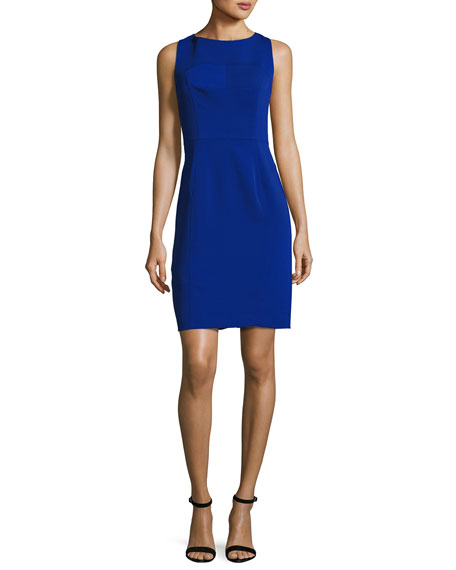 Mika Sleeveless Italian Cady Sheath Dress, Cobalt