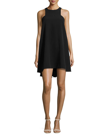 Sleeveless Angular Italian Cady Trapeze Dress, Black