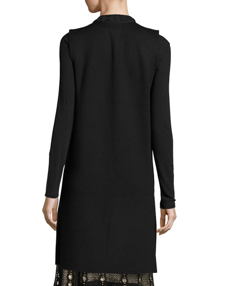 Jaycie Lace-Trim Sweater Vest, Black
