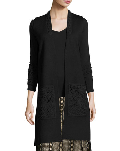 Jaycie Lace-Trim Sweater Vest, Black