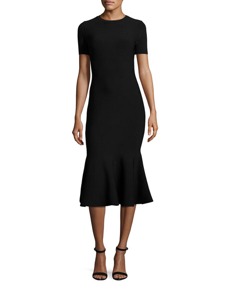 Milly Short-Sleeve Mermaid Midi Dress, Black