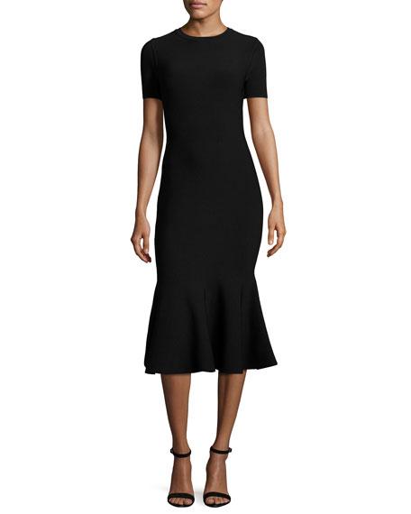 Milly Short-Sleeve Mermaid Midi Dress, Black