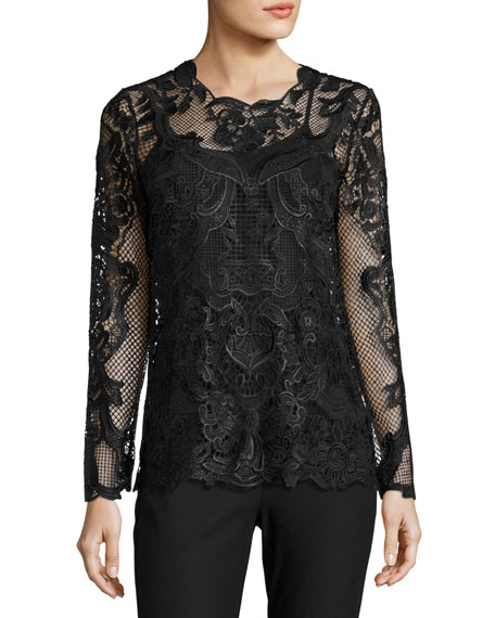 Kobi Halperin Heddie Long-Sleeve Lace Blouse, Black