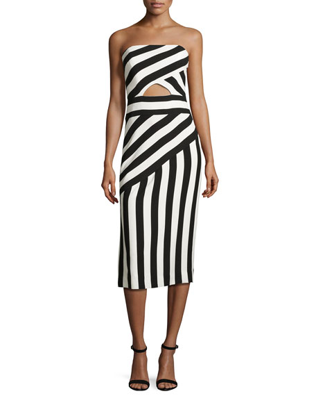 Milly Striped Strapless Cutout Dress, Black/White