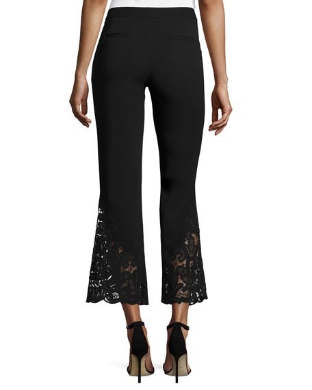 Kerri Cropped Lace-Hem Flared-Leg Pants, Black