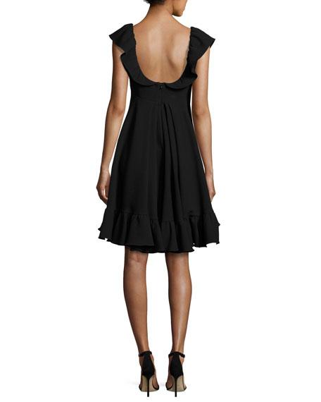 Lindsey Cap-Sleeve Cady Dress, Black