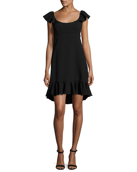 Milly Lindsey Cap-Sleeve Cady Dress, Black