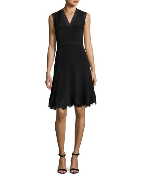 Kobi Halperin Adena Sleeveless Lace-Trim A-Line Dress