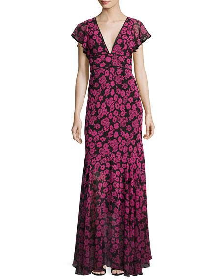 Milly Deni Floral-Print Chiffon Maxi Dress, Pink