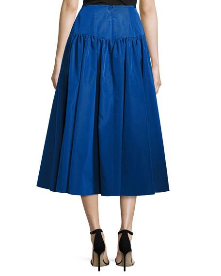 Shirred-Back Flare Midi Skirt, Cobalt