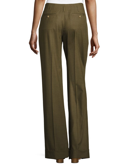 Wide-Leg Pleated Pants, Tropical/Olive