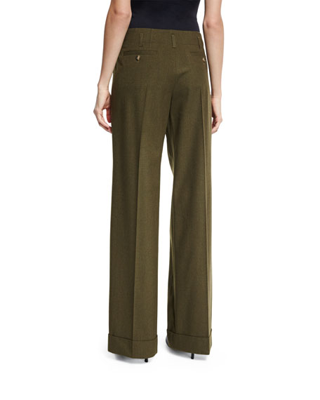 Wide-Leg Stretch-Wool Pants, Olive