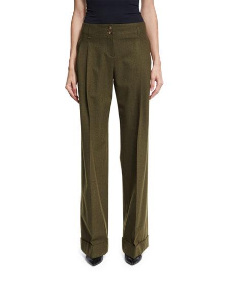 Michael Kors Wide-Leg Stretch-Wool Pants, Olive