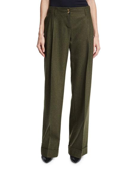 Michael Kors Wide-Leg Cashmere-Blend Pants, Olive