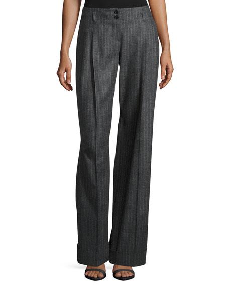 Michael Kors Wide-Leg Pinstripe Pleated Pants, Charcoal
