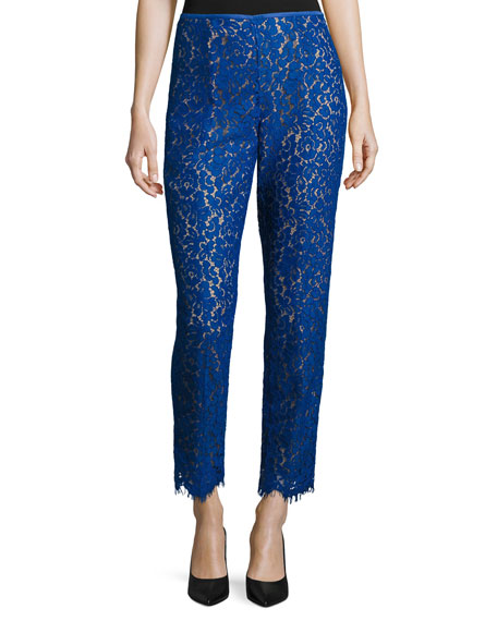 Michael Kors Allover Lace Skinny-Style Pants, Cobalt