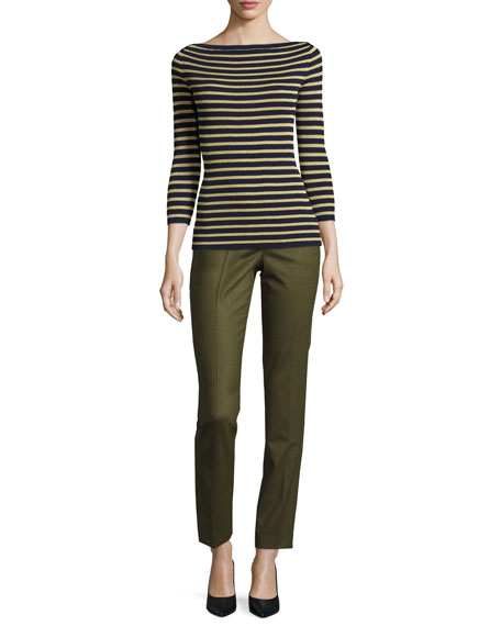 Samantha Skinny Tropical Pants, Olive