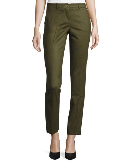 Michael Kors Samantha Skinny Tropical Pants, Olive