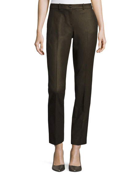 Michael Kors Samantha Skinny Houndstooth Pants, Green/Brown