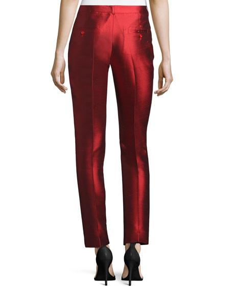 Samantha Skinny Shantung Pants, Scarlet