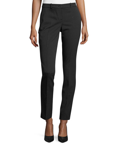Michael Kors Samantha Polka-Dot Skinny Pants, Black/White